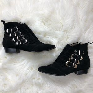 Zara Woman Black Suede Side Buckle Booties
